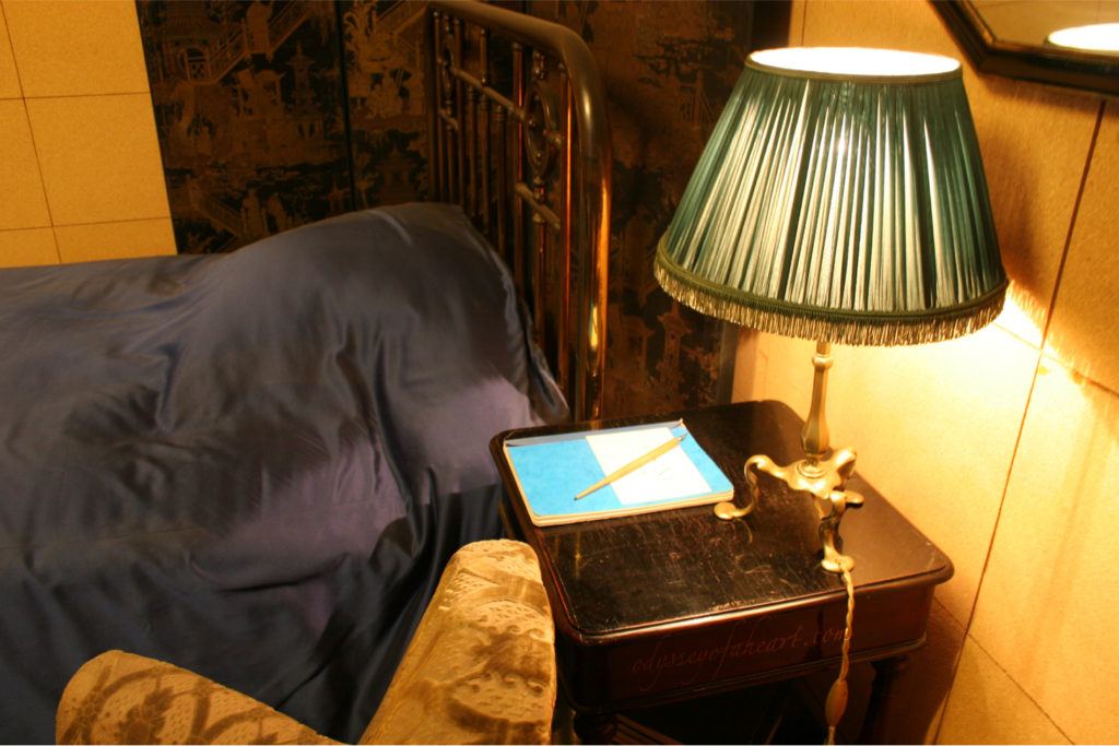 Marcel Proust bedside desk, lamp and fountain pen
